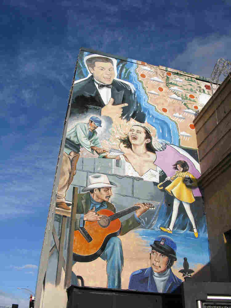 The downtown area of Huntington Park, Calif., is filled with murals like this.