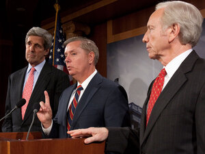 Sens. John Kerry (left) and Joseph Lieberman (right) and Sen. Lindsey Graham