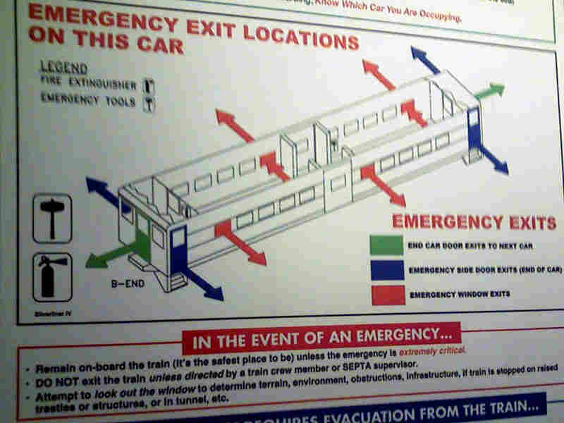 Emergency exit sign from the SEPTA transit system.