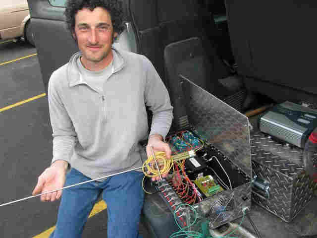 Karl Umiker holds an 'electroshocker'