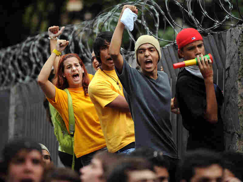 Students protest against the suspension of private RCTV broadcast network in Caracas in January.