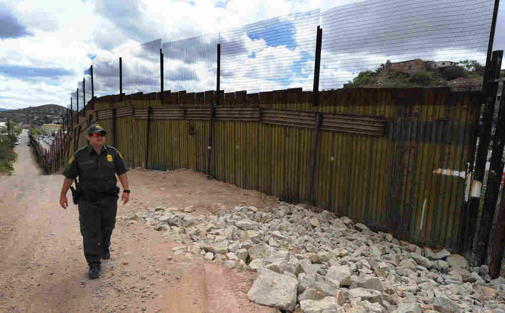 U.S. Border Patrol officer at U.S.-Mexico border at Nogales, Ariz.