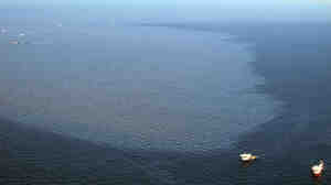 Two ships float near the massive oil slick spreading in the Gulf of Mexico.