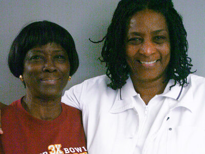 Zenobbie Clark (left) and Diana Carter visited StoryCorps in Plantation, Fla.