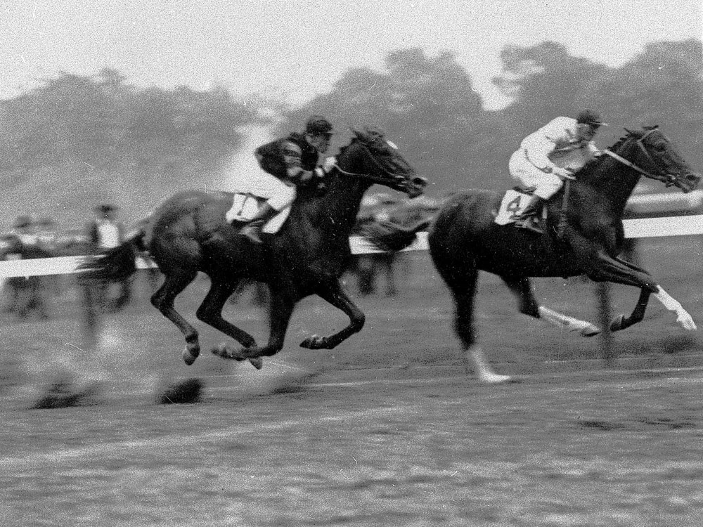 Upset, the Dark Horse, beating Man o'War in 1919 at Saratoga