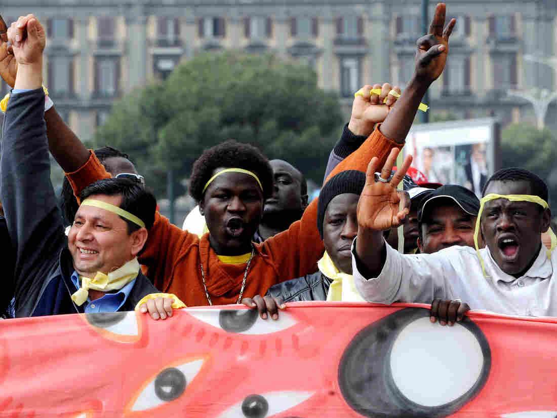 demonstrators in Italy
