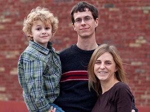 Nathan Garland, Brianne Zimmerman and their 6-year-old son Noah Garland. Whitney Curtis/NPR