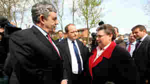 Prime Minister Gordon Brown talks with resident Gillian Duffy. Jeff J Mitchell/Getty Images