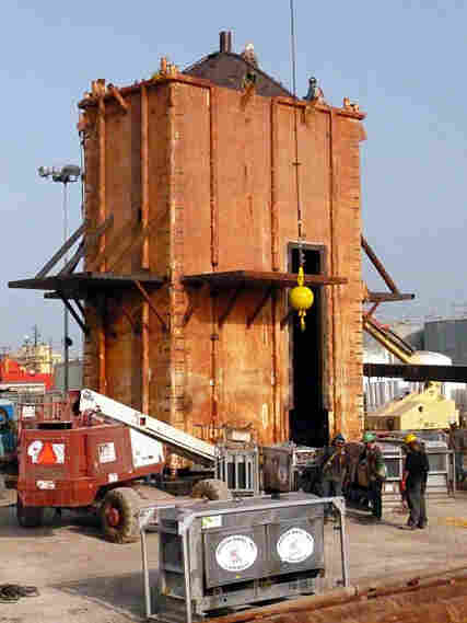 The structure that will be lowered under the ocean to cap the leak.