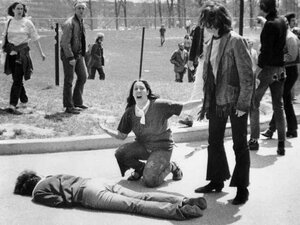 Mary Ann Vecchio screams as she kneels over the body of Jeffrey Miller at Kent State on May 4, 1970.