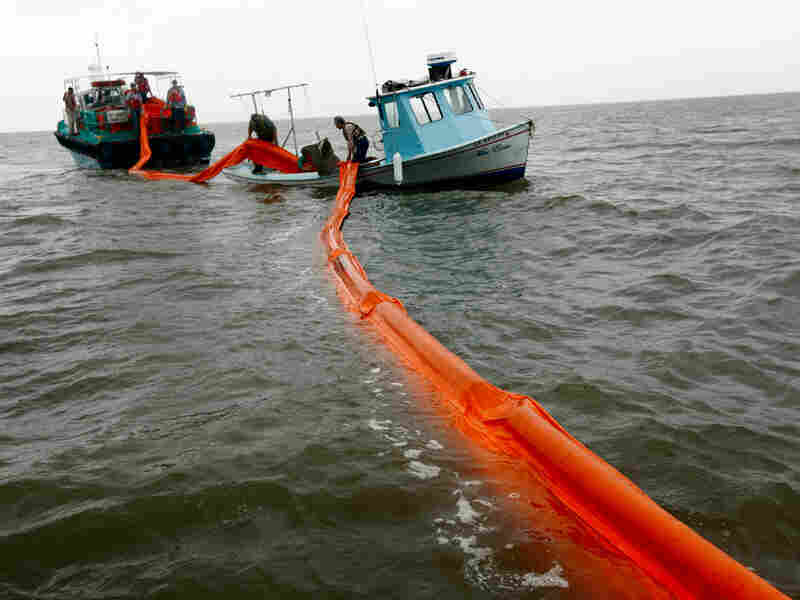 Out-of-work fishermen lay oil booms in preparation for the looming oil spill.