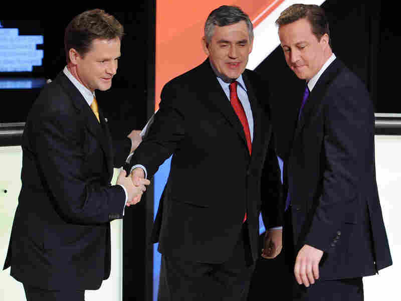 Nick Clegg (from left), Gordon Brown and David Cameron