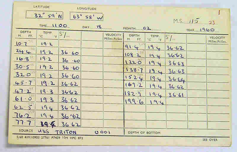 This card from the USS Triton has information about depth, temperature, salinity and time.