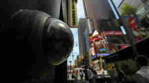 A private security camera in New York City's Times Square.