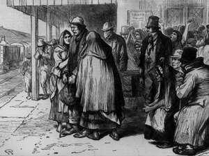 An 1881 illustration of Irish immigrants