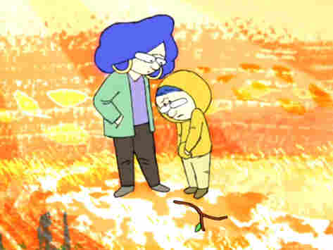 Still from animated video of Joshua Littman, a 12-year-old with Aspergers, talking with his mother.