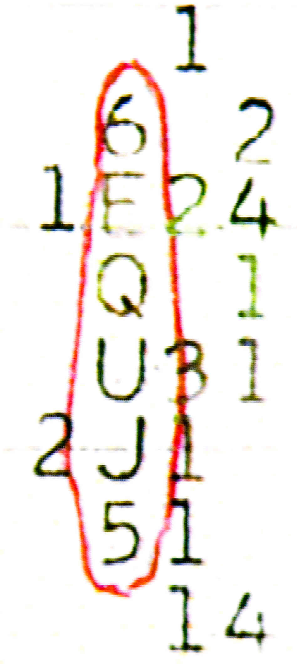"The six numbers and letters of the ""Wow!"" signal, in a vertical column, circled in red"