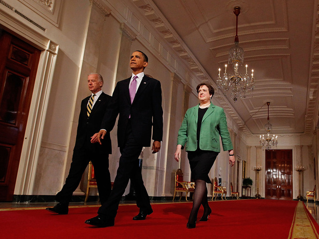 Vice President Joe Biden, President Obama and Solicitor General Elena Kagan walk into the East Room before Obama announced Kagan as his choice to be the nation's 112th Supreme Court justice on Monday.