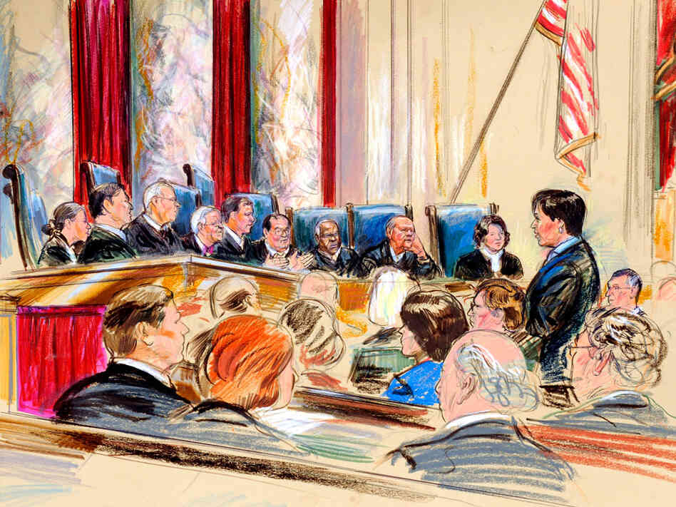 An artist rendering shows U.S. Solicitor General Elena Kagan before the Supreme Court.