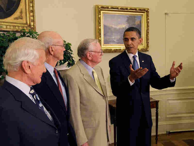 President Obama greets Apollo 11 astronatus at the White House