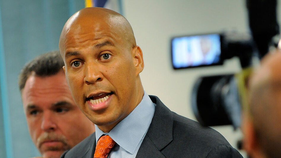 Newark Mayor Cory Booker, shown in 2008, was re-elected Tuesday to a second term. Although Booker's re-election coincides with the opening of the first trial in the 2007 murder of three college students, he is credited with creating successful programs to reduce crime.
