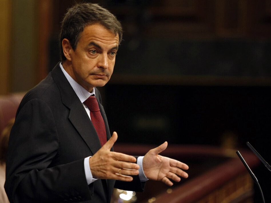 Spain's prime minister, Jose Luis Rodriguez Zapatero, gives a speech at the Parliament in Madrid on Wednesday. Spain's socialist government ordered tough austerity measures — including a wage cut — in an effort to slash the national debt.