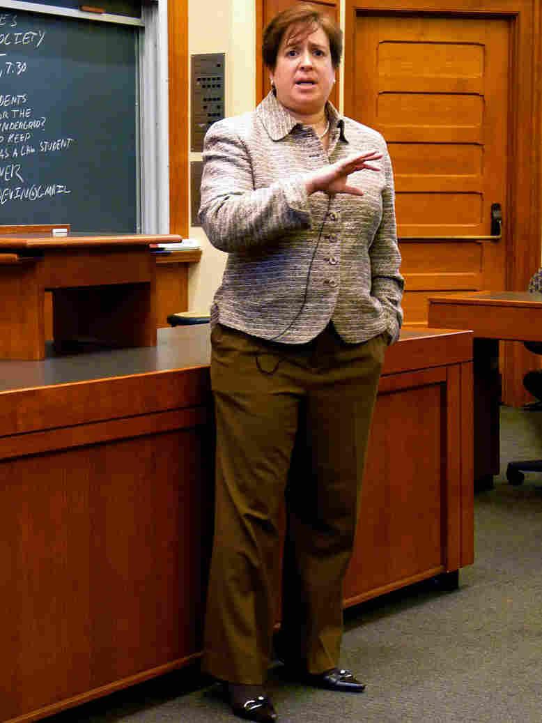 Harvard Law School Dean Elena Kagan addresses law school students in 1986