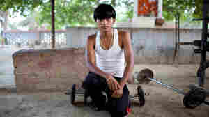 A young wrestler in Kanpur, India