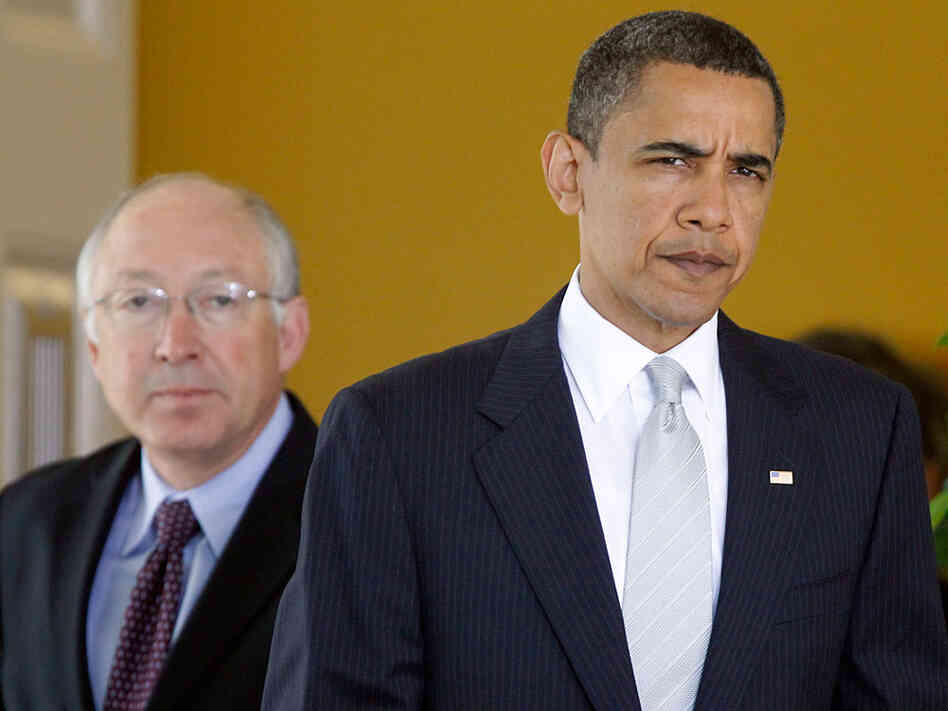 President Obama with Interior Secretary Ken Salazar