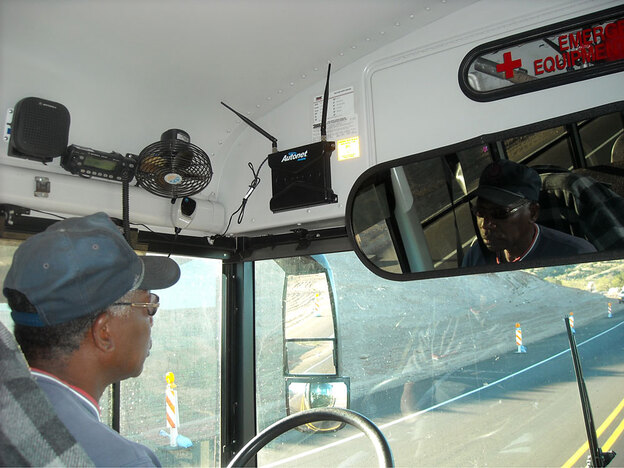 Bus driver J.J. Johnson says high school students in southern Arizona are benefiting from wireless Internet on the bus. With less idle time on the hourlong commute, he says, they're not fighting as much or making nearly as many spit wads as they used to.