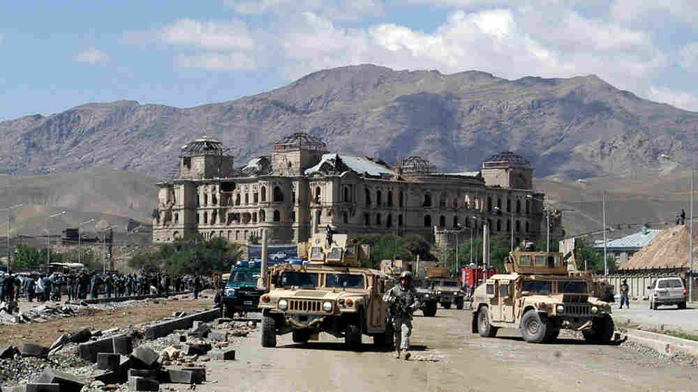 Afghan police and U.S. military cordon off an area in Kabul after a car bomb attack.