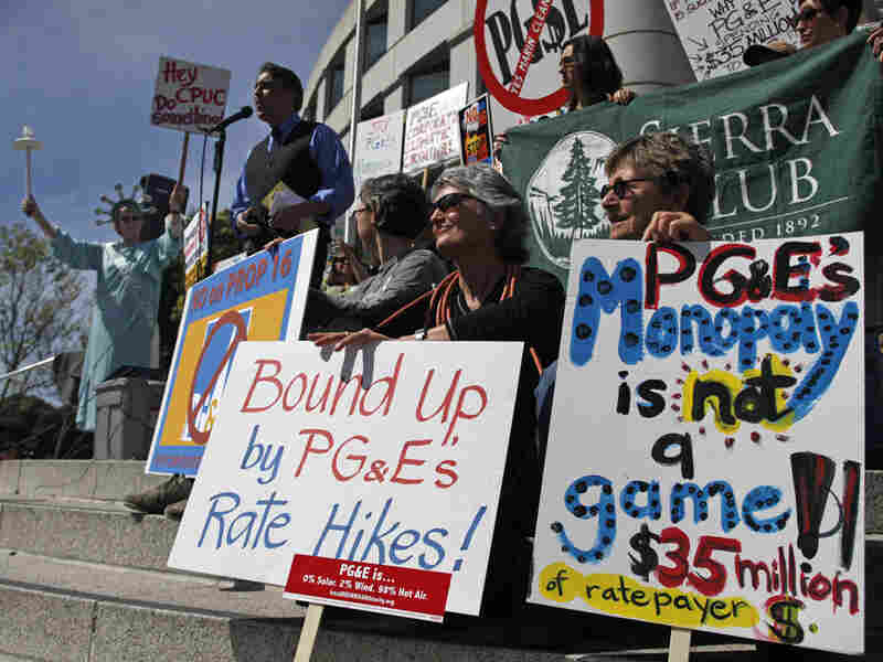 California citizens take part in a protest against Proposition 16.