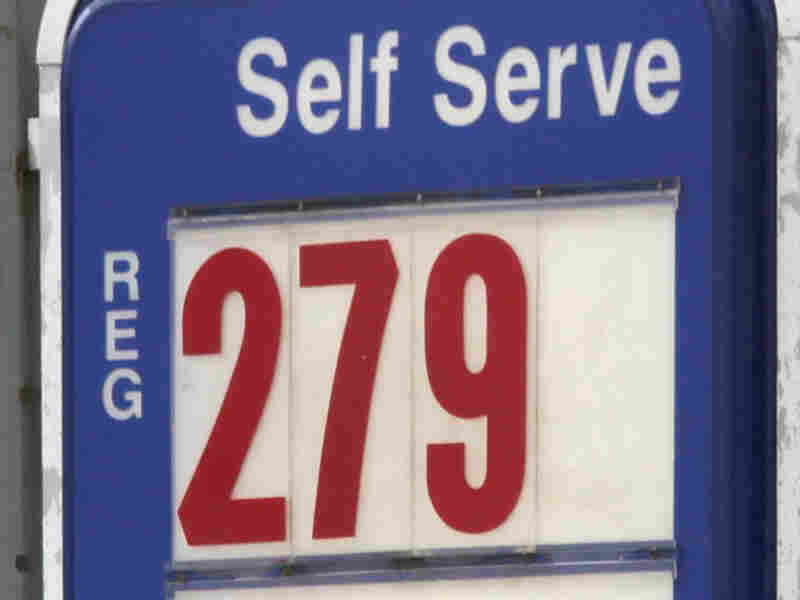 A sign shows the price of gas at a station in North Randall, Ohio.