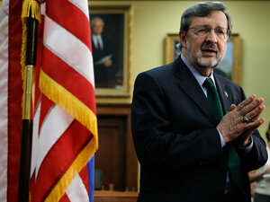 Rep. David Obey (D-WI) announces his retirement at a news conference in Washington.