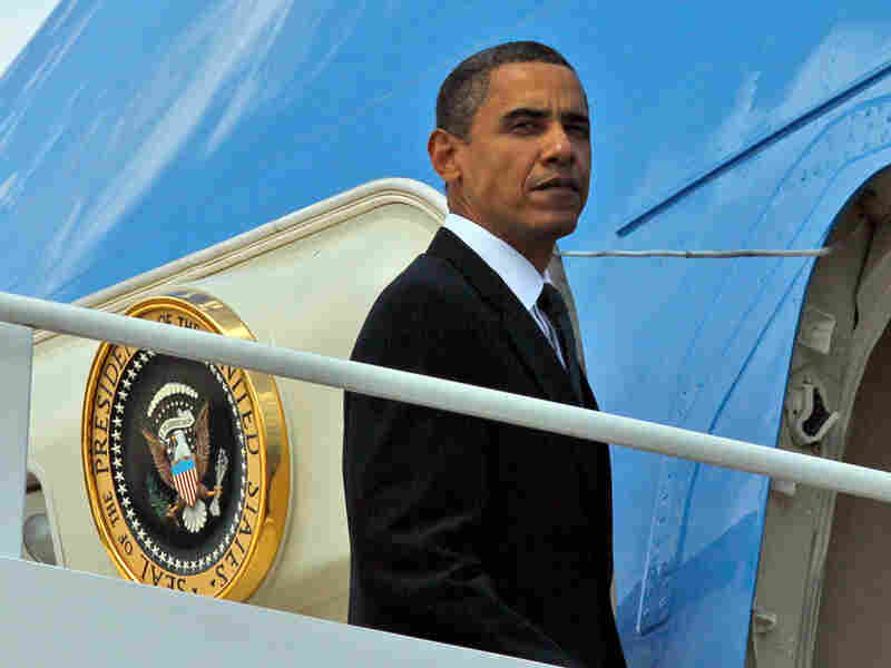 President Obama boards Air Force One at Andrews Air Force Base, Md., on Tuesday.