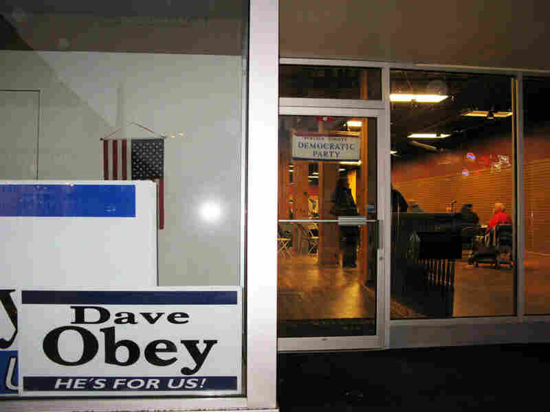 The front window of the Portage County Democratic Party headquarters in Stevens Point, Wisc.