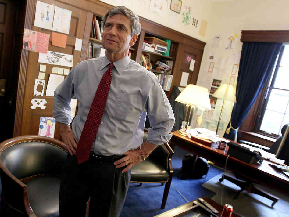 Rep. Joe Sestak speaks with members of his staff.