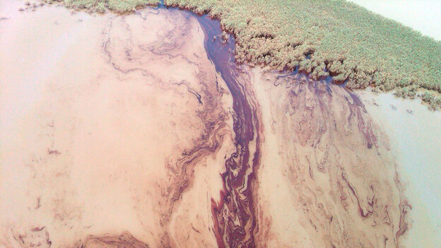 Thick, rust-colored ribbons of oil encroaching on the shores of Louisiana
