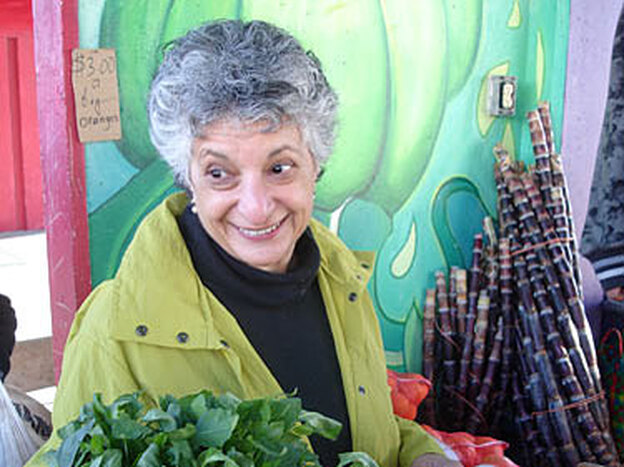 Niloufer Ichaporia King prowls about six farmers markets a week in search of greens, roots, seeds and inspiration. Here, she is at Alemany Farmers Market in San Francisco on a Saturday morning.