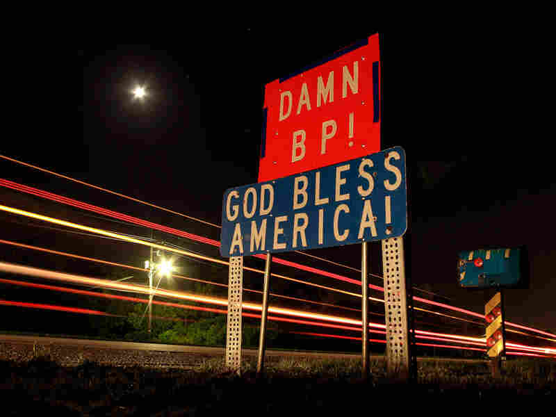 A sign chastising BP is seen along a highway south of Belle Chasse, La.