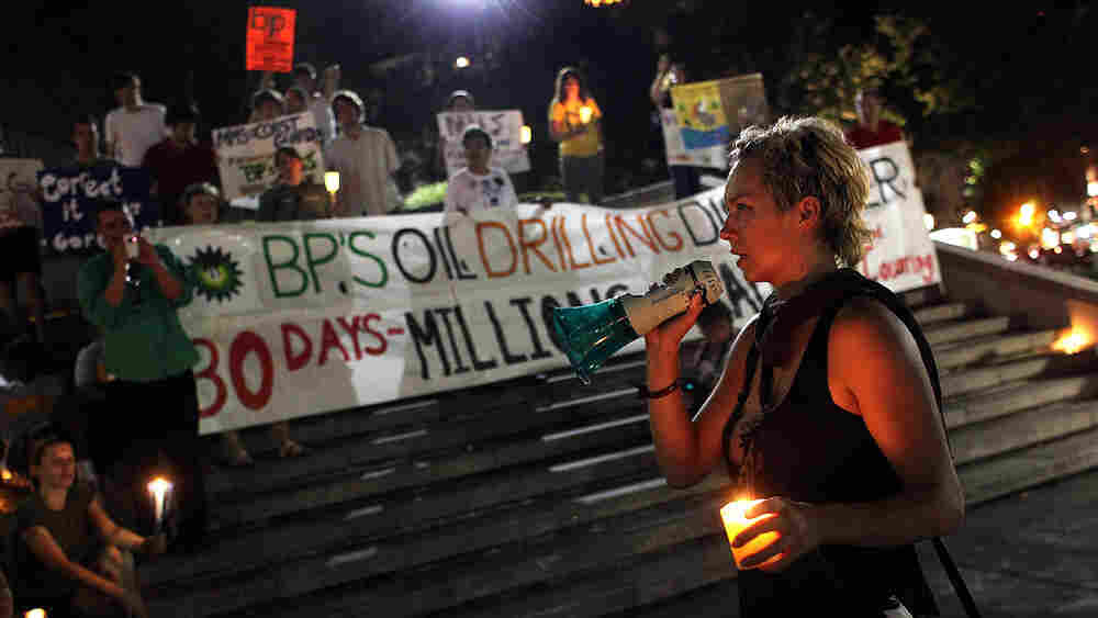 Protesters in New Orleans marked the one-month anniversary of the BP oil spill.