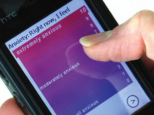 """A """"mood map"""" on a mobile device lets a user record his or her anxiety level"""