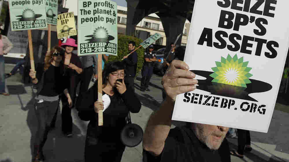 People critical of oil giant BP demonstrated outside an ARCO station in Los Angeles.