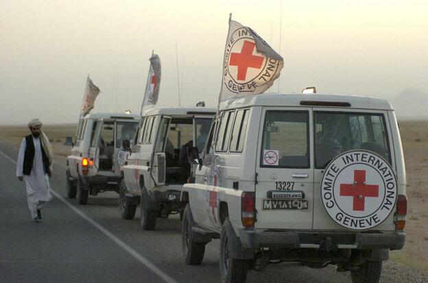 International Committee of the Red Cross vehicles in Janda, Afgha