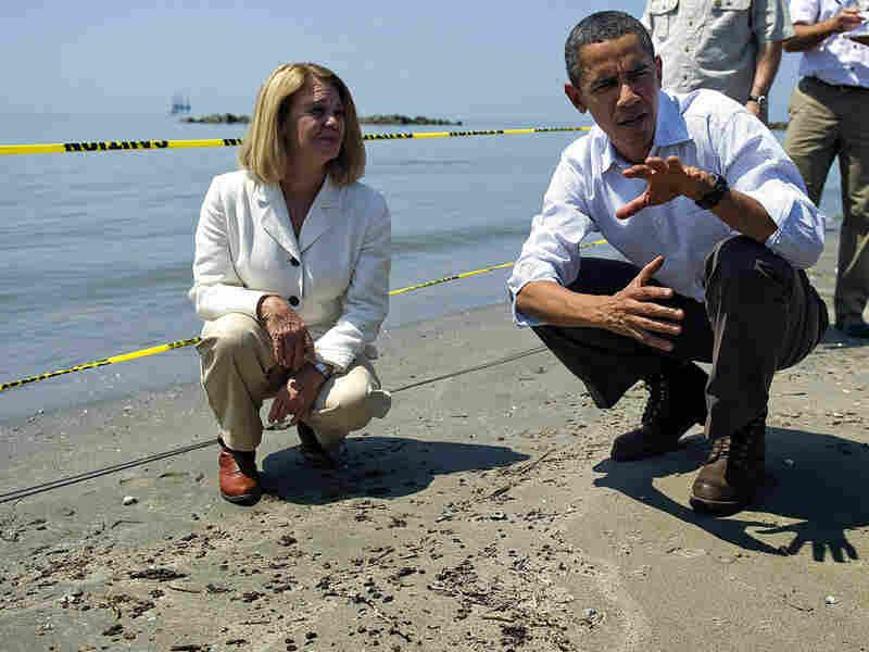 President Obama and LaFourche Parish President Charlotte Randolf