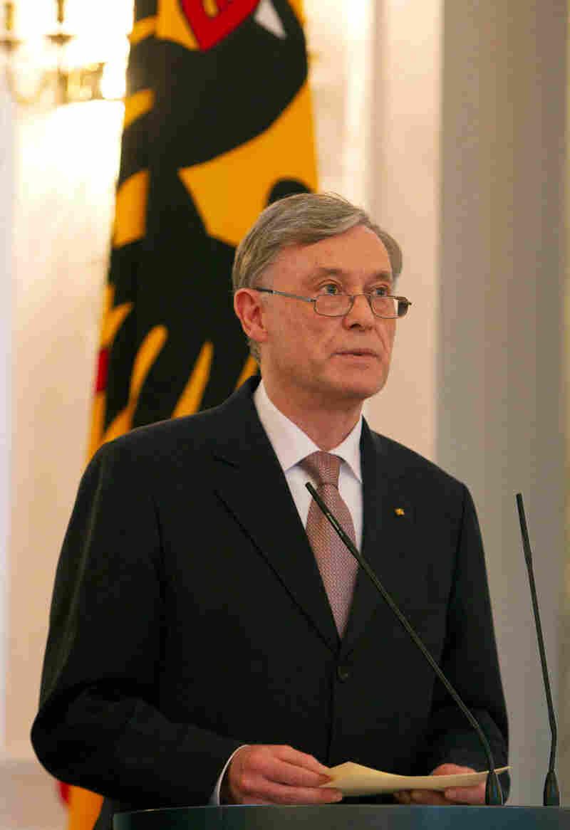 German President Horst Koehler announces his resignation Monday in Berlin.
