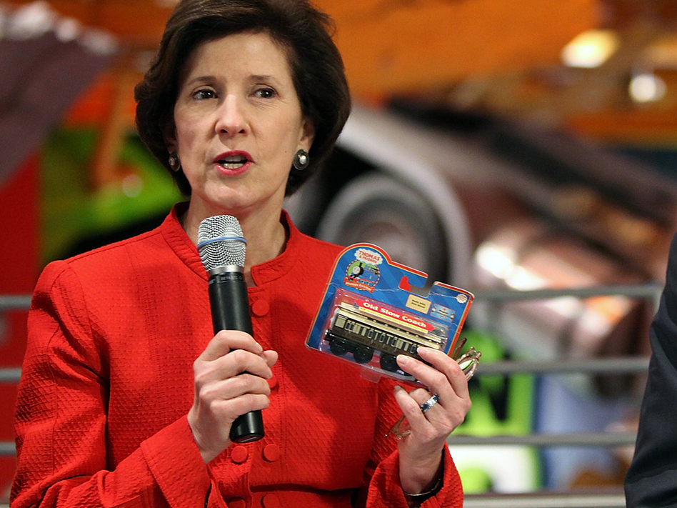 "U.S. Consumer Product Safety Commission chief Inez Tenenbaum says she's ""seen too many recalls on cribs."" She plans to ban all drop-side cribs. Here, she visits a Toys 'R' Us store to discuss toy safety."