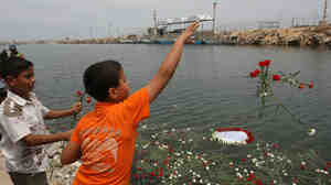 Palestinian boys throw flowers