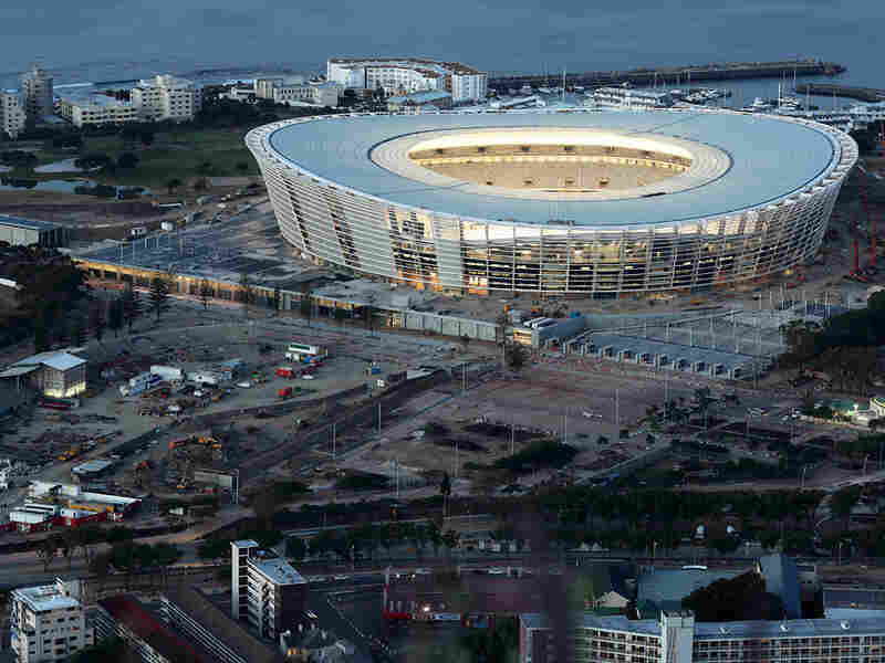 Cape Town Stadium undergoes a test of its lights as construction nears completion, Oct. 22, 2009.