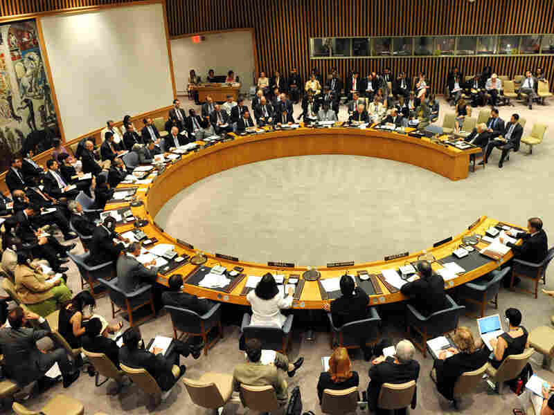 Members of the U.N. Security Council meet at the United Nations